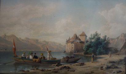 Ecole française du XIXe siècle Château au...