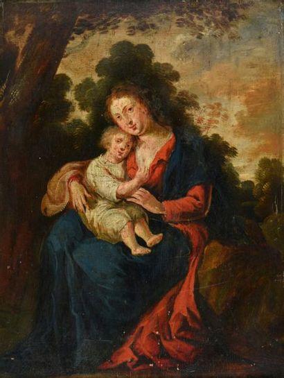 ECOLE FLAMANDE du XVIIème siècle. Vierge...