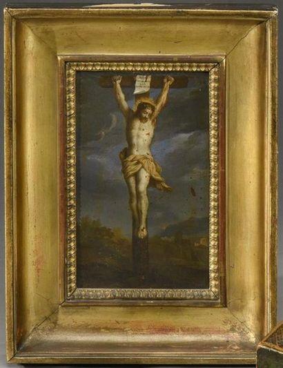 Ecole française vers 1630. Christ en croix...