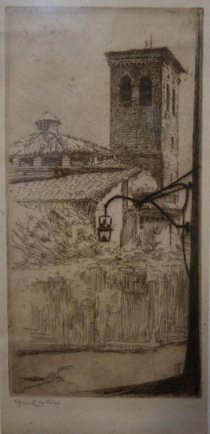 Edgard CHAHINE (1874 -1947) Clocher Saint...