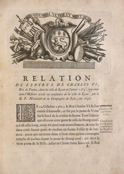 [MESSIEURS DU CONSULAT]. RELATION DES ENTRÉES...