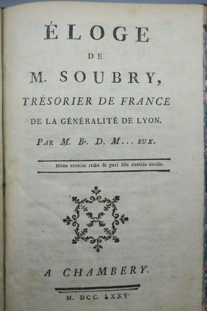 [BRUYZET DE MANIVIEUX]. ÉLOGE DE M. SOUBRY,...