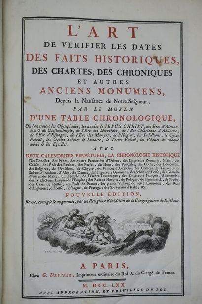 CLEMENT (Dom François). L'ART DE VÉRIFIER...