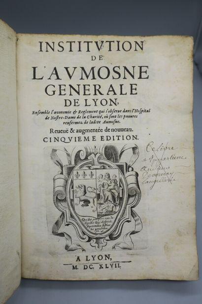[LYON]. INSTITUTION DE L'AUMOSNE GÉNÉRALE...