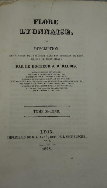 BALBIS (Jean Baptiste). FLORE LYONNAISE,...
