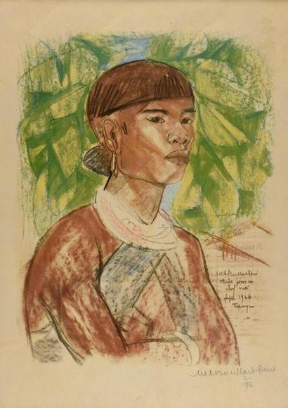 Marie-Antoinette Boullard-Devé (1890-1970). Etude pour un chef Moï (Indochine),...