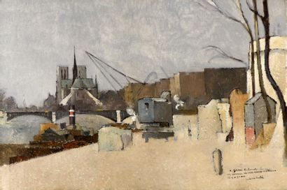 Pierre HODÉ (1889-1942). Vue de Notre-Dame,...