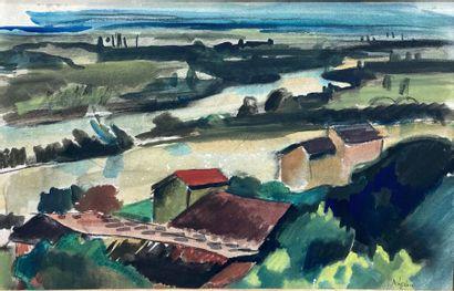 Jacques LAPLACE (1890-1955). Paysage. Aquarelle...