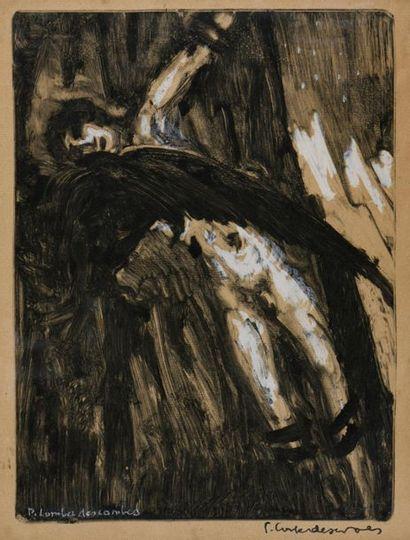 Pierre COMBET-DESCOMBES (1885-1966). Prométhée. Monotype sur papier. Signé deux...