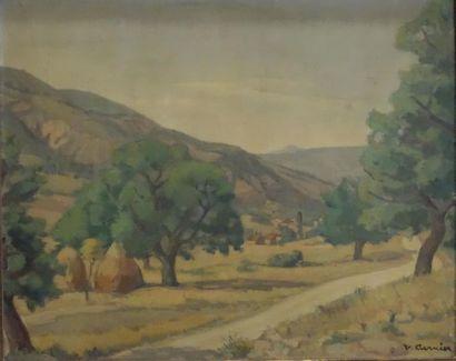 Venance CURNIER (1885-1971). Paysage de Haute-Provence....
