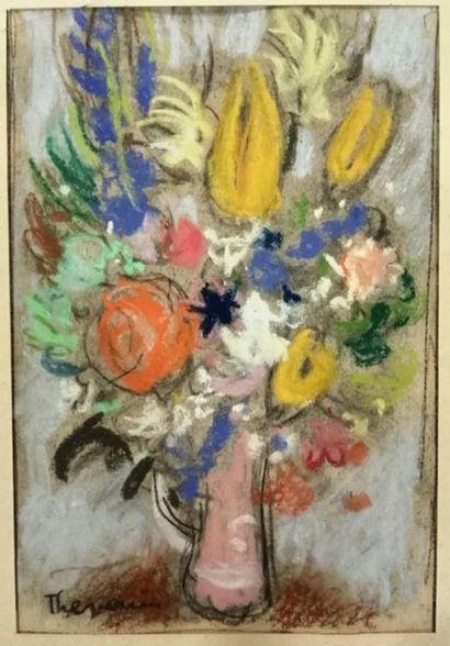 Pierre THÉVENIN (1905-1950). Fleurs dans...
