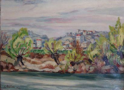 Jacques Laplace (1890-1955). Paysage aux...