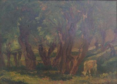 Max LERRANT (1875-1955). Paysage animé. Huile...