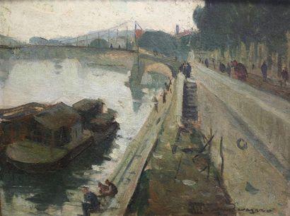 Jean Lavagna (XXème siècle) Bord de Saône...