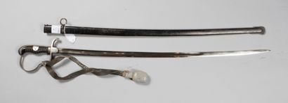 Sabre officier prussien, poignée corne filigrannée 3 bruns, fourreau fer noir, dragonne...