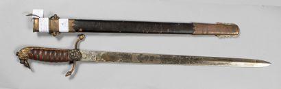 """Dague d'officier de marine anglaise, lame marquée """"MANTON&CIE. ENGLAND"""", 20°siè..."""