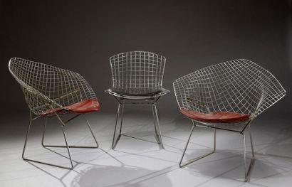 Paire de fauteuils Diamond chair BE 50 Bertoia,...