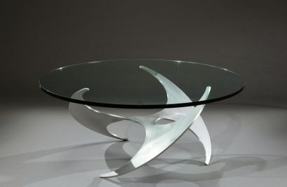 Table basse piètement hélice en aluminium...