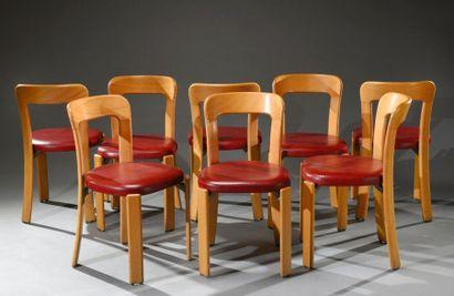 Suite de huit chaises de Bruno Rey ,édité...
