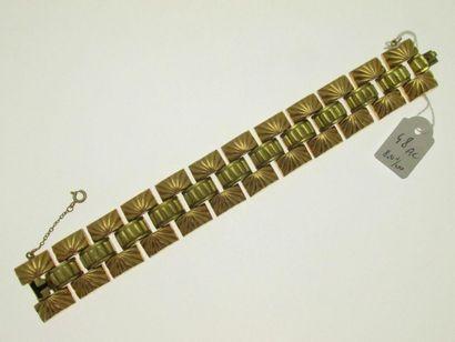 1 bracelet tank or 800°/°° deux tons à motifs...
