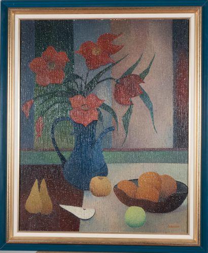 Albert LABACHOT (1915-1992).  Fleurs et fruits....