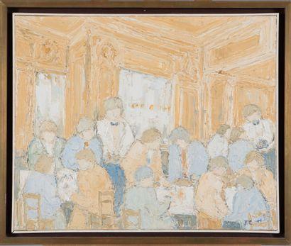 Jeanine COMBE (née en 1938).  Au restaurant....