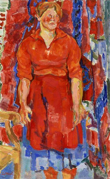 Hubert Le Mab (né en 1924)  Femme à la robe...