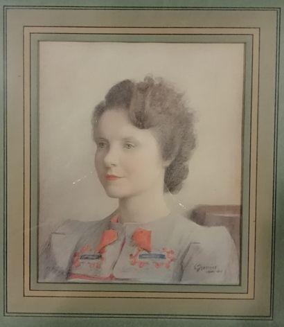 Paul JANIN(1890-1973).  Portrait de femme,...