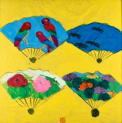 TING Walasse (1929-2010).  Eventails.  Gouache...