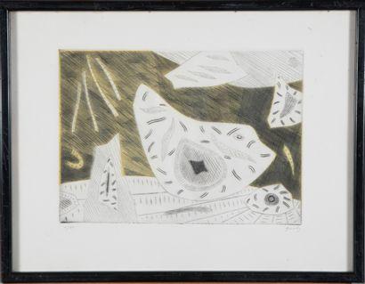Henri GOETZ (1909-1989).  Sans titre.  Aquatinte...