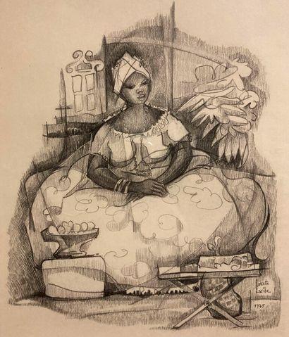 Lucette LARIBE (1913-2020).  Femme dans son...