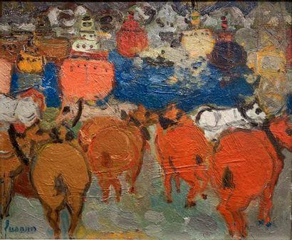 Jean FUSARO (né en 1925)  Chevaux sur le...