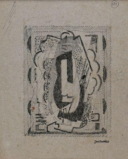 Jean Chevalier (1913-2002).  Esquisse des Ondes, 1945,  Encre sur papier gris.  Cachet...