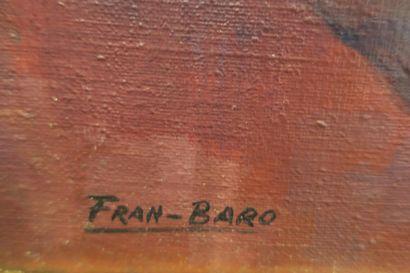 Fran-Baro (1926-2000).  Nature morte aux pommes.  Huile sur toile.  Signé en bas...