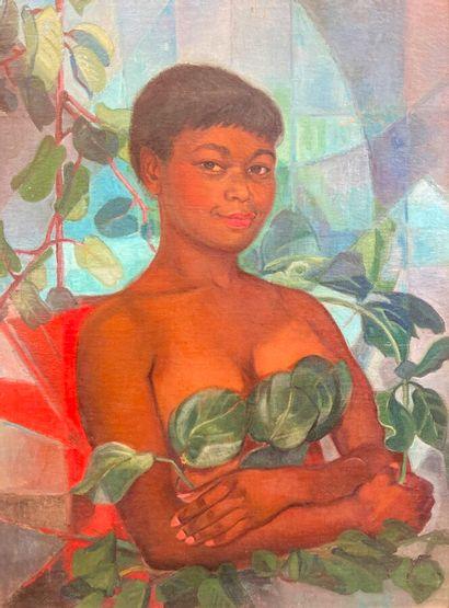 Lucette LARIBE (1913-2020).  Moça com folhagem....