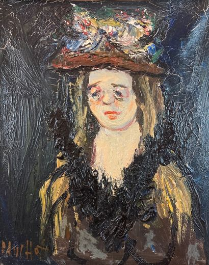 Gabriel Dauchot (1927-2005).  Femme au chapeau...
