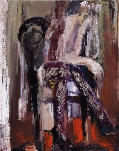 Fabienne Comte (née en 1963).  Assise.  Huile...