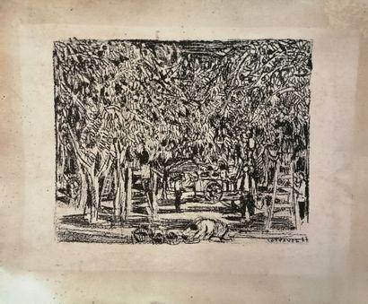 André Cottavoz (1922-2012).  Scène champêtre,...
