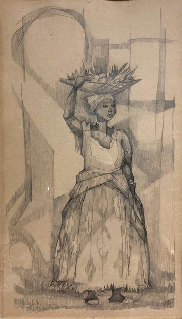 Lucette LARIBE (1913-2020).  Femme transportant...