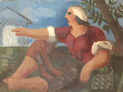 Constant Rey-Millet (1905-1959).  La paysanne,...