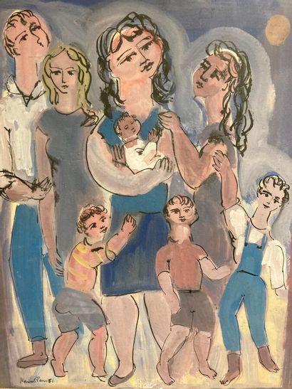Manuel Parres (1925-)  La famille, 1951  Gouache...