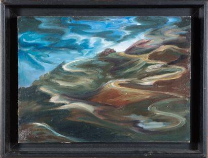 René-Maria Burlet (1907-1994).  Paysage,...