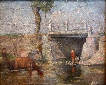 Ecole moderne.  Paysage au petit pont, 1948....