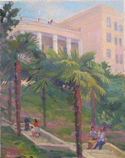 Ecole Russe du XXème  La villa niçoise,1961...