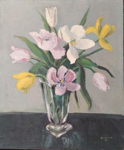 Jean-Marie Deroche (XXème).  Bouquet de tulipes....