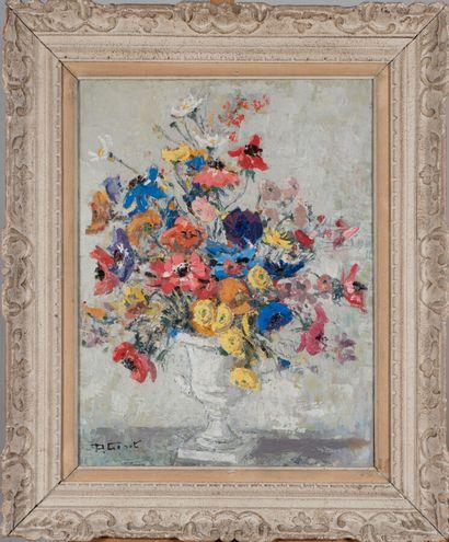 Paulette GENET (1892-1983).  Fleurs dans...