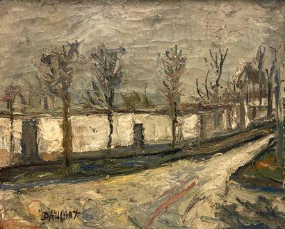 Gabriel Dauchot (1927-2005).  Rue enneigée....