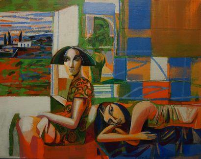 David Gerstein (né en 1944).  Dans un intérieur....