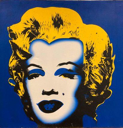 Anonyme du XXème siècle.  Marylin.  Acrylique...