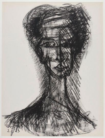 David Lan-Bar (1912-1987).  Portrait, 1953....